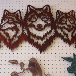 Wolfes, Metal Sculpture, Brown